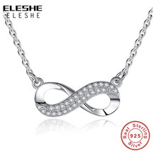 Buy ELESHE 925 Sterling Silver Crystal Infinity Pendant Necklace 8 Figure Forever Link Chain Necklace Woman Fashion Jewelry for $8.82 in AliExpress store