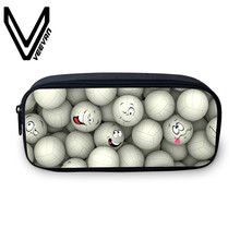 VEEVANV Brand 2017 Casual Ball Image Purse Fashion Thermal Transfer Package Bag 3D PU Print Zipper Pencil Bag Women Cosmetic Bag