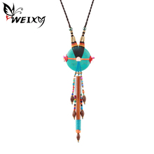 WEIXY Ethnic Handcrafted Necklace Jewelry Regional Colorful Beads Long Tassel Pendant Bohemian Indian Style Retro Jewelry Gift(China)