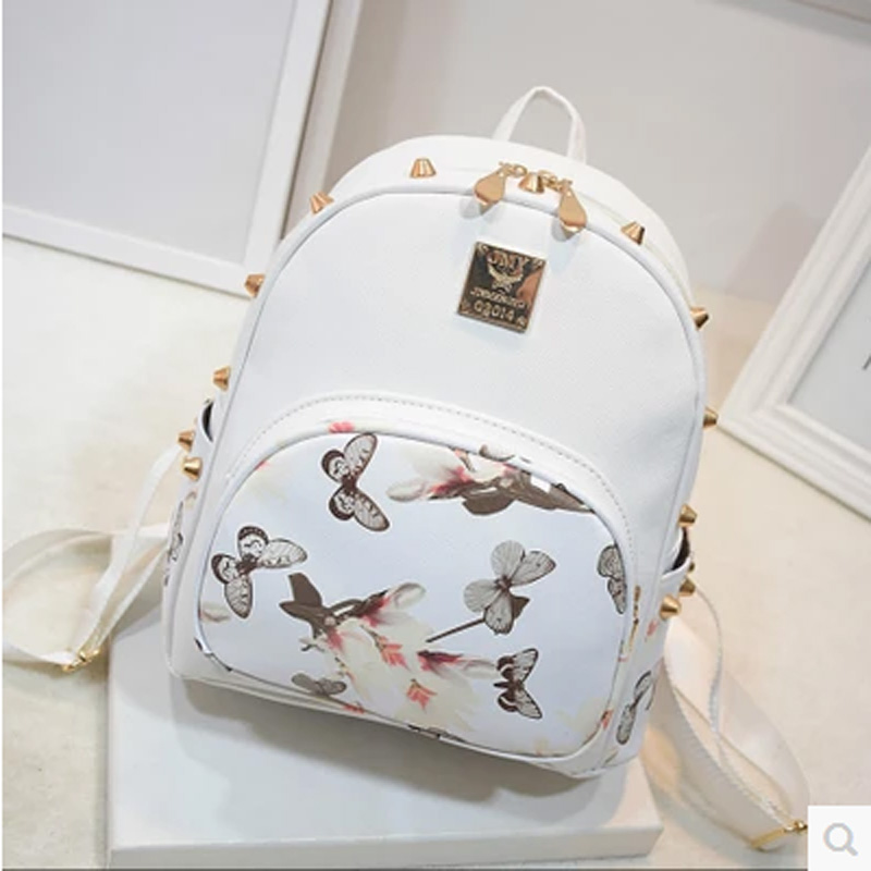 Women Pu Leather Small Printing Mini Backpack School Travel Floral Backpacks For Teenage Girl Rivets Light Bag Bolsa Feminina<br><br>Aliexpress