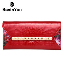 KEVIN YUN Fashion women wallets long designer purse female clutch patent leather wallet