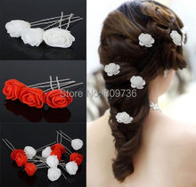 6pcs/lot Wedding Bridal Hair Pins Rose Flower Clips Bridesmaid Beauty Accessories For Women Hair Jewelry Prom Party Cheap Free(China)