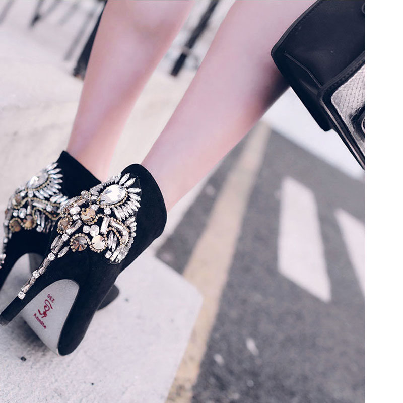 2016 Autumn&amp;Winter New Sexy Pointed High-Heeled V Deep Diamond Boots Thin Heel Suede Ankle Boots Martin Boots Women Boots<br><br>Aliexpress