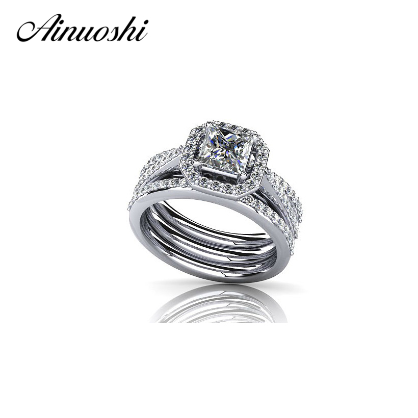 AINUOSHI Luxury 925 Sterling Silver Wedding 3pcs Ring Sets 1 Carat Princess Cut NSCD Jewelry Women Engagement Love Band Ring Set