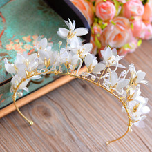 European High Quality Gold Tiara Crown with White Flower Hairbands Party Hair Accessories