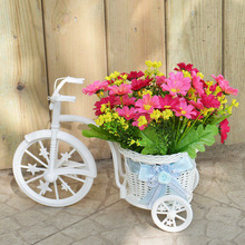 Artificial flower plastic bandwagon rattan wicker tricycle vase flowers decoracion boda home decoration