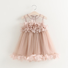 Hot Sell Summer New Korean Gauze Vest Stereo Petal  Girls Princess Dresses Baby Girl Tutu Dress Children Frock Model