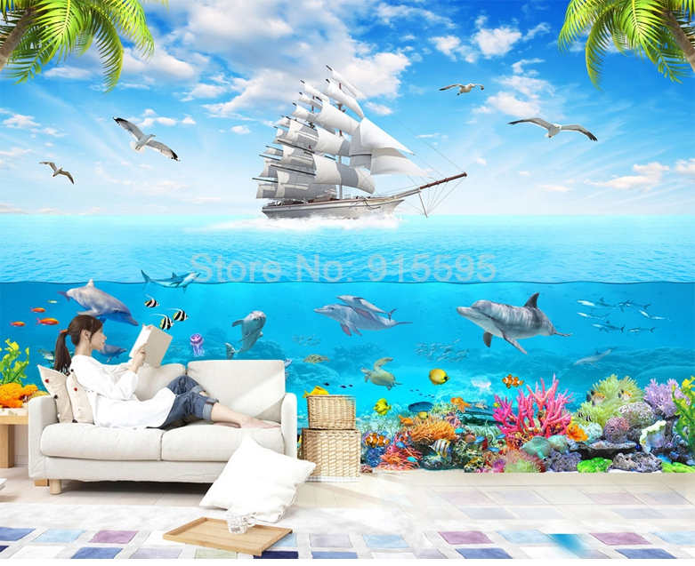HTB1e1oYRpXXXXc9XpXXq6xXFXXXW - Custom Photo Wallpaper Sailing Dolphin 3D Underwater World Cartoon Picture Living Room Children Bedroom Decoration Wall Mural