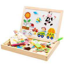 Cartoon Multifunctional Educational Farm Jungle Animal Wooden Magnetic Puzzle Toys for Children Kids Jigsaw Drawing Easel Board