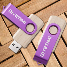 Biyetimi wooden USB Flash Drive memory 9 colors usb stick U disk pen drive 64GB USB 2.0 4GB 8GB 16GB 32GB pendrive Flash Drive(China)