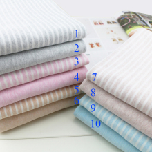 High qulity cotton knitted fabric Elastic sanding cotton and lycra striped fabric for baby T-shirt pajama clothes 50*170cm(China)