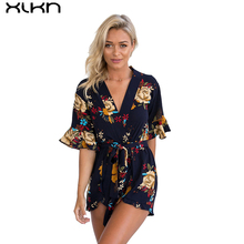 XIKN 2017 Summer Women Jumpsuit Flower Print Romper Sexy Deep V Overalls Woman Playsuits Short Sleeve Jumpsuit With Belt AF121(China)