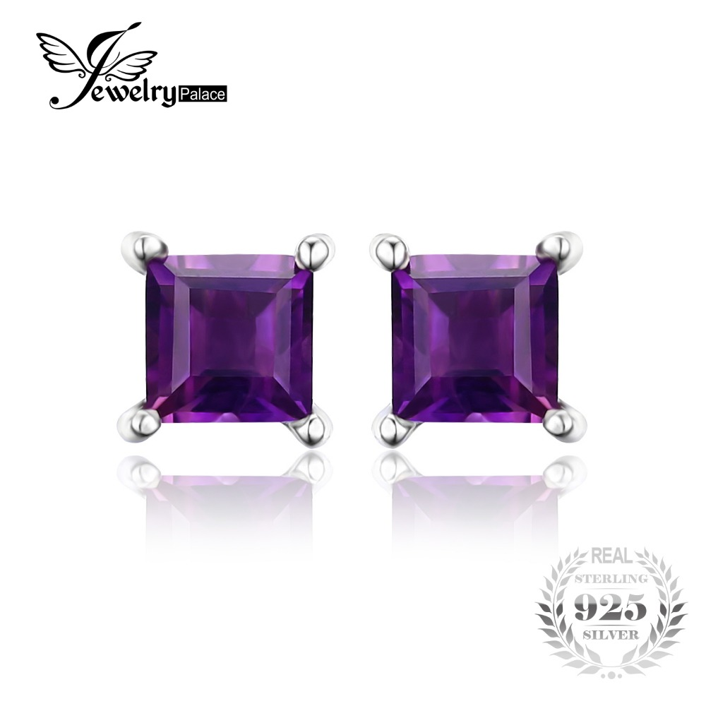 JewelryPalace Square Natural Amethyst Earrings Stud 925 Sterling Silver Jewelry Classic Square Fine Jewelry Women Earrings(China (Mainland))