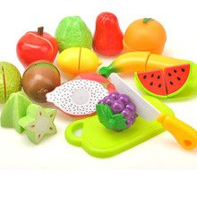 Happy Children Preschool Children Wooden Food Fruit and Vegetable Cutting Set Colorful Pretend Play Kitchen Toys For Kids ZW04