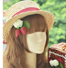 Princess sweet lolita [straw hat] sweet strawberry garden Lolita Dress sweet/cla straw hat MHT008(China)