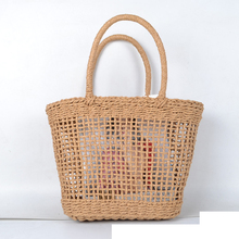 37x25CM Simple And Generous No Decorative Plain Color Net Hollow Textured Woven Bag Popular Straw Bag Handbags   A4199~1