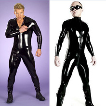 2017 New Arrival M-3XL Size Men Sexy Club Shinny PVC Bodysuit Mens Full Jumpsuit Leotards Party Dance Clothings N917