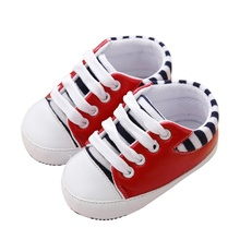 2017 Newest Fashion Cute Baby Girls Boys Striped First Walker Toddlers Kids PU Non-slip Toddler Shoes