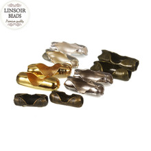 LINSOIR 200pcs Gold/Silver Color Ball Chain Connectors Clasps Diameter 1.5 2 3.2 mm Copper Connectors For DIY Jewelry Making F14(China)