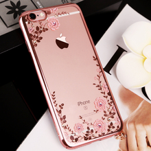 For iPhone 7 6S Plus 5 5S 6 Case Para Chic Flower Flora Bling Diamond Rhinestone Clear Soft TPU Plating Case For iPhone 7 Case