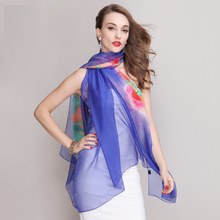 blue tulip Large chiffon scarf silk feeling blue polyester Islamic scarves women cheap beach shawls wholesale free shipping