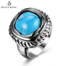 2017 Hot Fashion Vintage Jewelry Ring Female Black Gold Color Turquoises Big kallaite Square Ring Women Men Retro Party Gift(China)