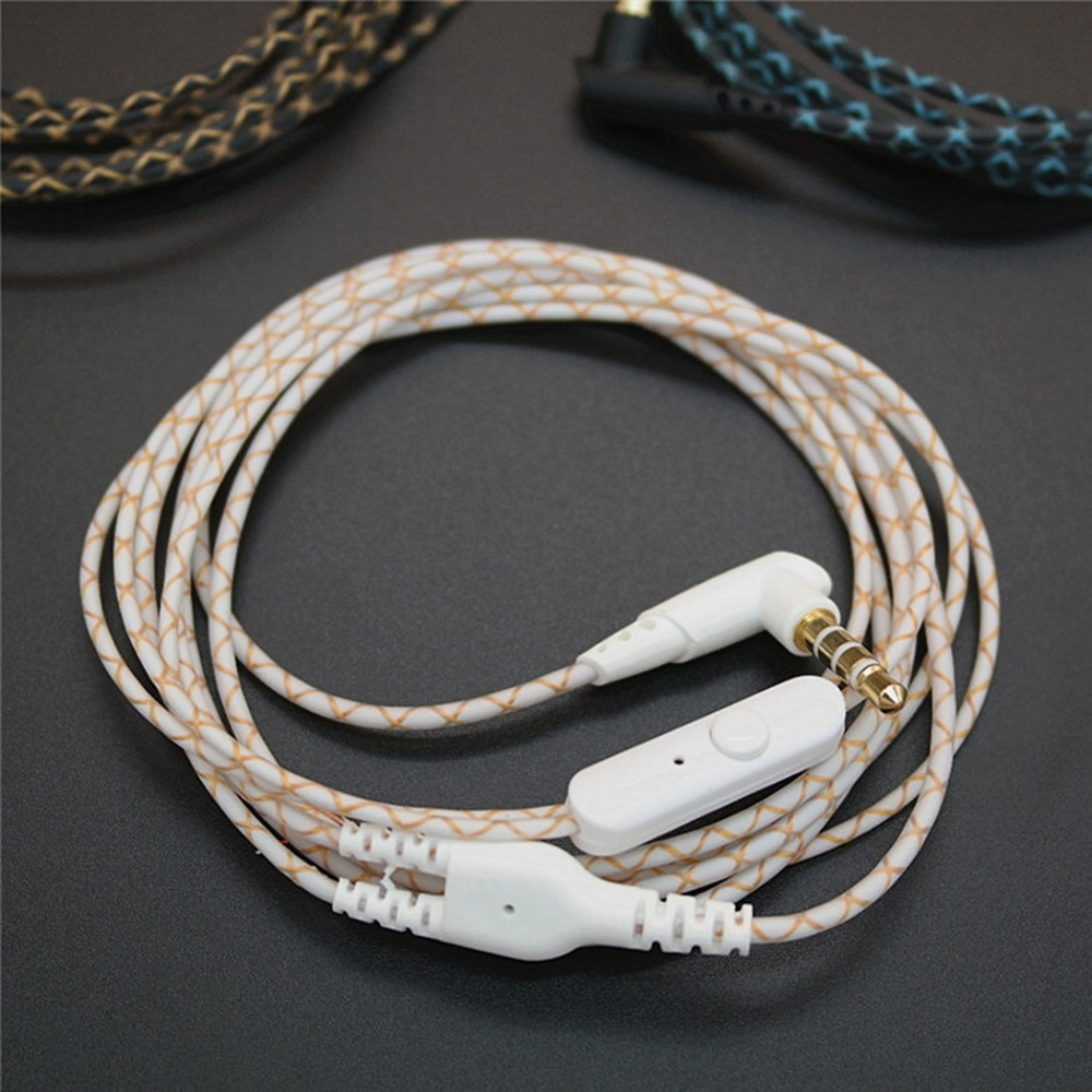 DIY Earphone Audio Cable Snakeskin wire Semi-finished serpentine cables with Mic for mobile phone (2)