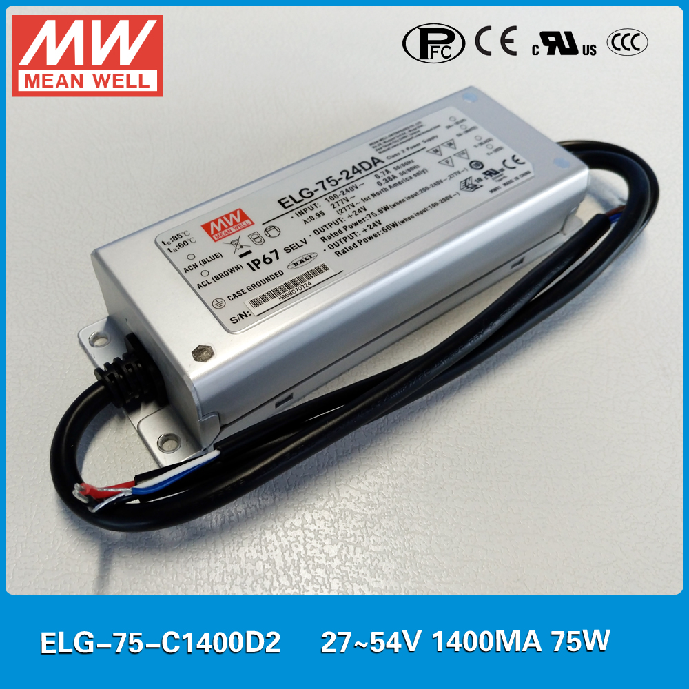 Original MEAN WELL ELG-75-C1400D2 LED driver 27~54V 1400mA 75W meanwell power supply <br>