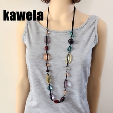Free Shipping New Long Mixed Color Acrylic Beads Fashion Sweet Necklace(China)