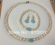 "8-9mm natural white pearl nearround beads chain strand necklace bracelet earring for women high grade set 18""/7.5"" MY5222(China)"