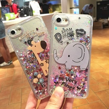 TPU+PC Hybrid Hard Back Bling Bling Case for iPhone 6S 6 Plus 7 7Plus Luxury Dynamic Liquid Pink Glitter Elephant Giraffe Cover(China)