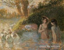 Famous Arts Reproduction Bathing Goose Maidens Camille Pissarro oil Paintings High quality Hand-painted