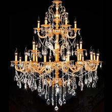Castle Villa traditional Gold chandeliers 24 arms Aluminum crystal stair light antique chandelier Lustres Para Sala De Jantar(China)