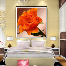 5D diamond painting orange diamond embroidery flowers cross stitch set diy crystal mosaic kit patterns rhinestone crafts Y617