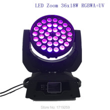 4 pcs/lot LED Moving Head Wash Light LED Zoom Wash 36x18W RGBWA+UV Color DMX Stage Moving Heads Wash Touch Screen