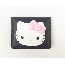 Cute Hello Kitty Portable Cosmetic PU Mirror Lovely Mini Mirrors Black/Blue/Pink Colors