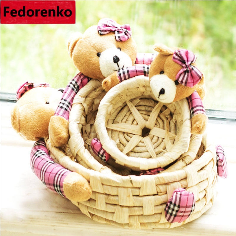 Three-piece woven straw storage baskets with Lovely Cartoon bear animal dolls small M lagre sundries cesta baby toy straw-basket(China)
