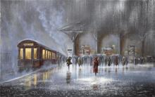 Building picture Jeff Rowland station rain meeting man woman people umbrellas car train 4 Sizes Home Decoration Canvas  Poster