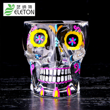 Eleton 70ml Colorful Skull Glass Transparent Crystal Skull Head Shot Glass Cup For Whiskey Wine Vodka Home Ware Man Gift Cup