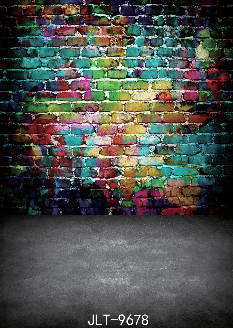 Photography backdrop Colored brick wall Graffiti wall  photo background Children photography background 5x7FT 9678<br><br>Aliexpress