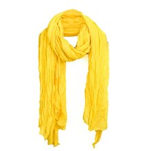 Women Ruched Detail Semi Sheer Soft Simple Casual Scarf Yellow(China)