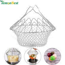 Stainless Steel Expandable Foldable Fry Chef Basket Kitchen Magic Mesh Strainer Fruit Basket Cooking Steam Rinse Strain Basket(China)
