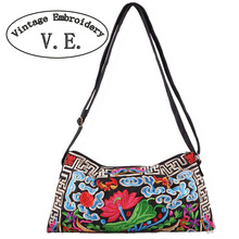 National Trend Embroidered Bags Double Faced Embroidery Flower Canvas Vintage Women Shoulder Messenger Bag Small Clutch Handbag