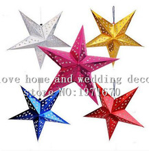 Christmas decorations five pointed star ornaments three-dimensional laser paper ceiling light bar line stores kindergarten