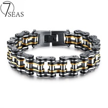 7SEAS Men Bike Chain Bracelet Stainless Steel Biker Bicycle Motorcycle Link Chain Punk Heavy Jewelry 15mm Wide Dropshiping GS877