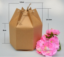 50pcs New design small Kraft Paper packaging box,lantern hexagon craft gift box wholesale,Christmas gift packaging box