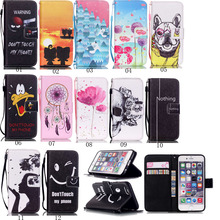 For iPod Touch 6 Wallet PU Leather Folio Patterned Wallet Case Cover Card Slots for iPhone 4 4S 5 5S 6 6S 7 7 Plus iPod Touch 5(China)