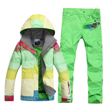 GSOU SNOW Large Color Rainbow Women Snowboard Clothing Lady Skiing Suit Sets 10K waterproof thicken Winter Costume Jacket+Pant