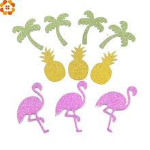 30PCS Flamingo&Pineapple&Tree Paper Stickers Glitter Paper Confetti Bachelorette/Wedding Party Decoration Flamingo Decor