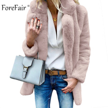 Forefair Women Winter Faux Fur Coat Jacket 테 디 곰 솜 털 Warm Hair 우아한 Pink 색 Natural Fake Fur Coat Plus size Lady(China)